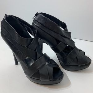 EUC Thick Strap Zip Back Leather Stiletto Heels